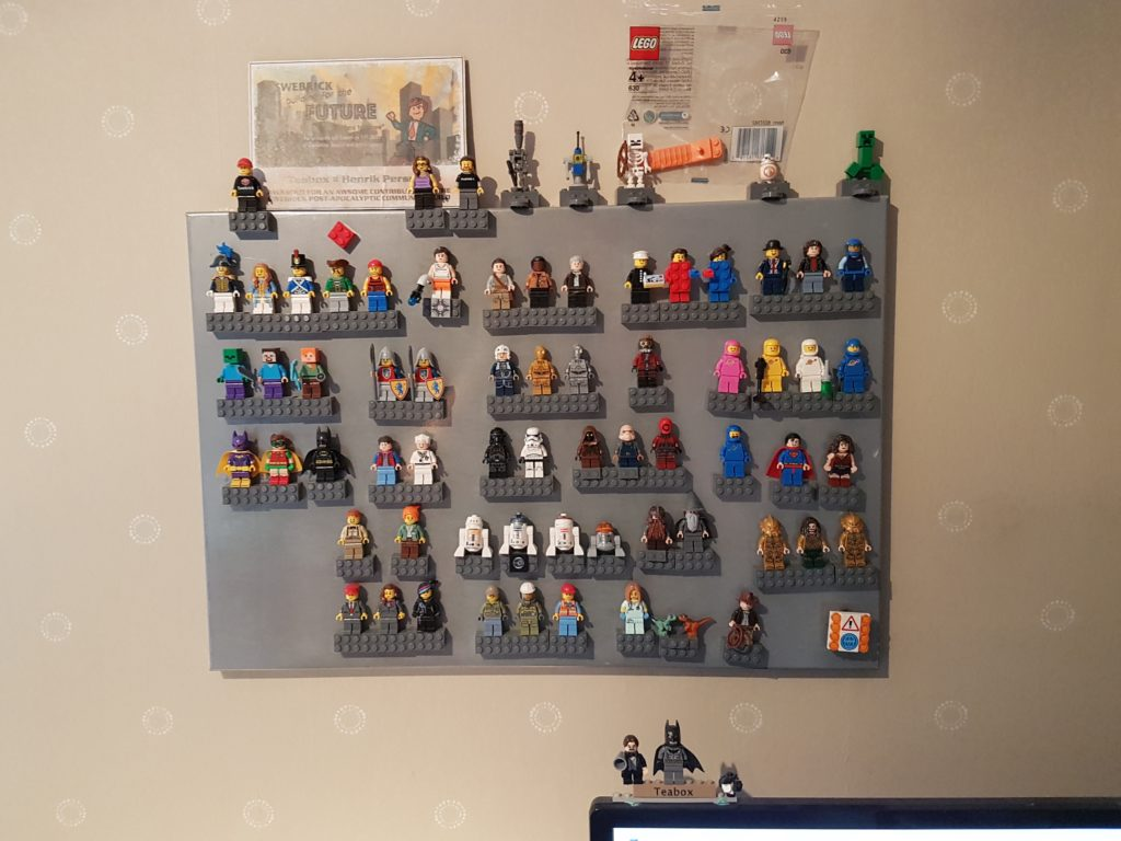 Minifig display on magnetic notice board.